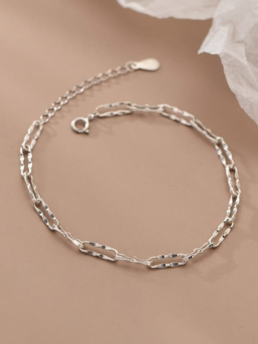 Rosh 925 Sterling Silver Geometric Chain  Minimalist Link Bracelet 2