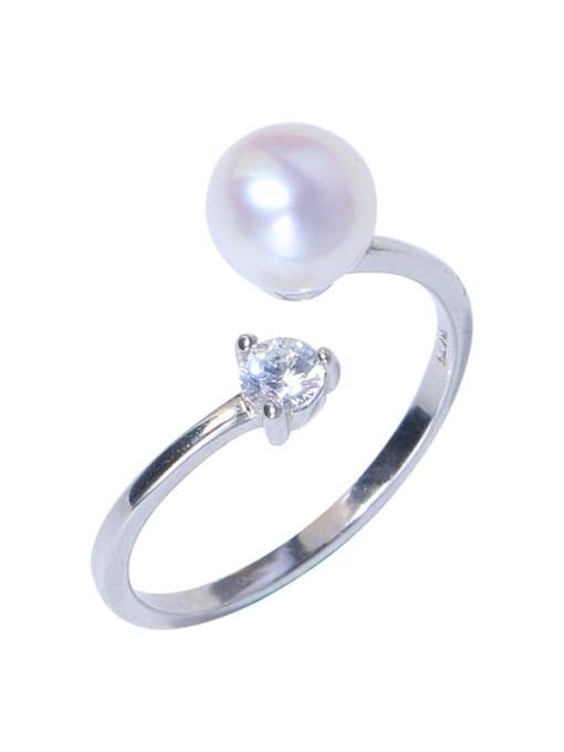 RAIN Brass Freshwater Pearl Round Minimalist Band Ring 0