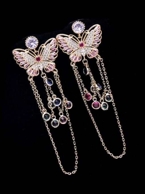 Golden +multicolor zirconium Brass Cubic Zirconia Butterfly Ethnic Drop Earring