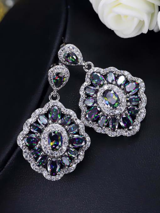 L.WIN Brass Cubic Zirconia Geometric Luxury Drop Earring 3