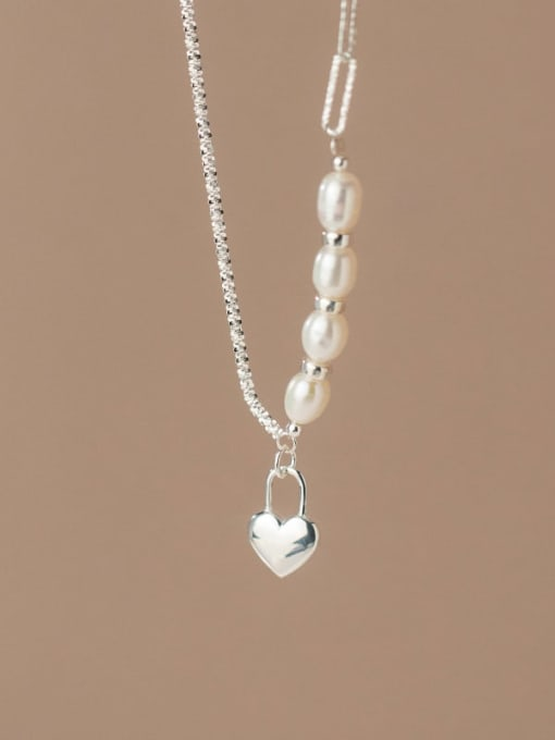 Rosh 925 Sterling Silver Freshwater Pearl Heart Minimalist Asymmetric chain Necklace 3