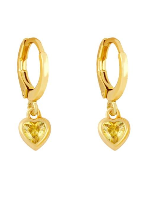 yellow Brass Cubic Zirconia Heart Minimalist Huggie Earring