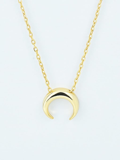 18K Gold 925 Sterling Silver  Smooth Moon Minimalist Necklace