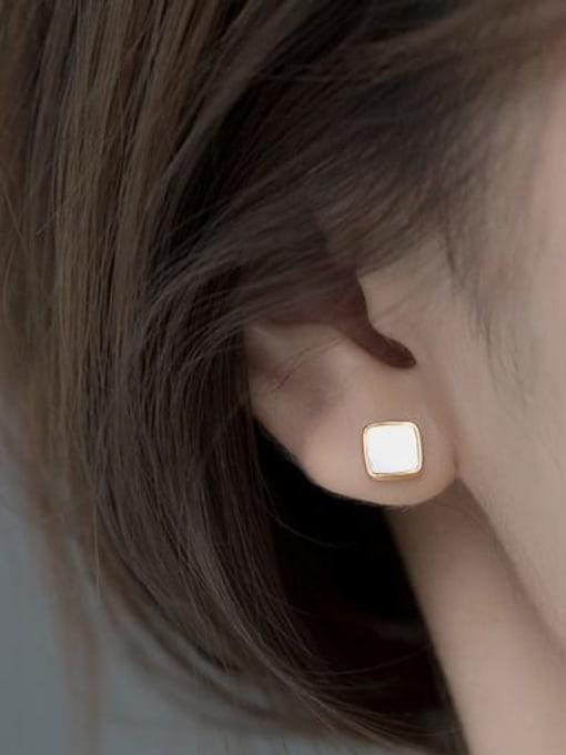 Rosh 925 Sterling Silver Shell Geometric Minimalist Stud Earring 3