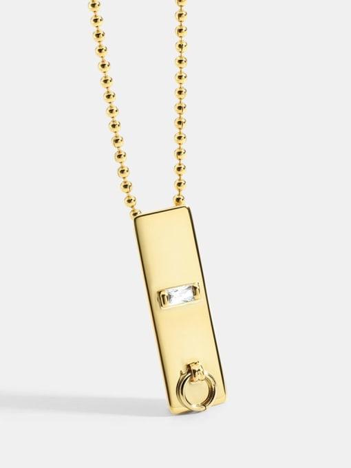 CHARME Brass Cubic Zirconia Geometric Minimalist Necklace 0