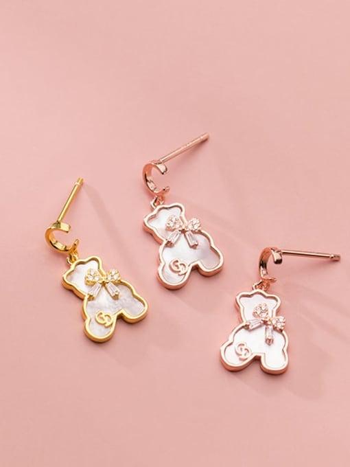 Rosh 925 Sterling Silver Shell Bear Minimalist Stud Earring