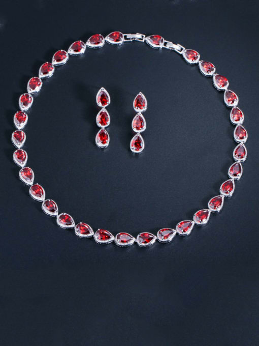 gules Brass Cubic Zirconia Luxury Water Drop  Earring and Necklace Set