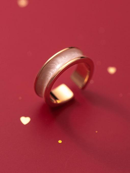 Rosh 925 Sterling Silver Enamel Geometric Minimalist Band Ring