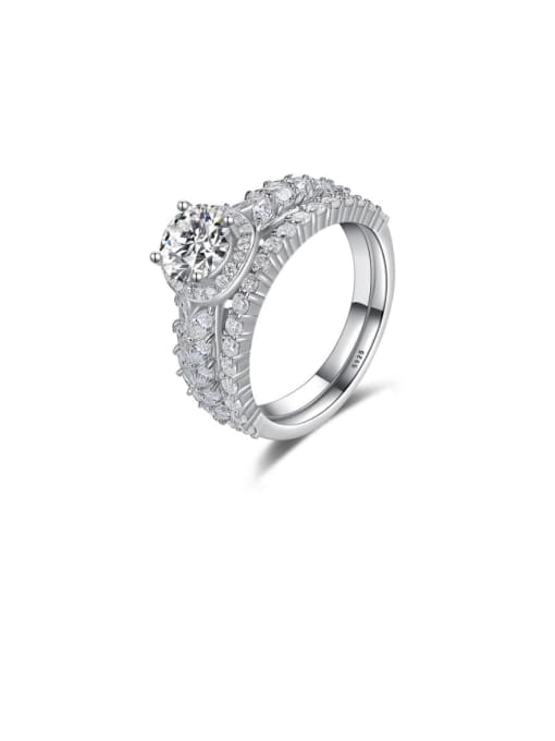 Platinum 13i11 925 Sterling Silver Cubic Zirconia Geometric Dainty Stackable Ring