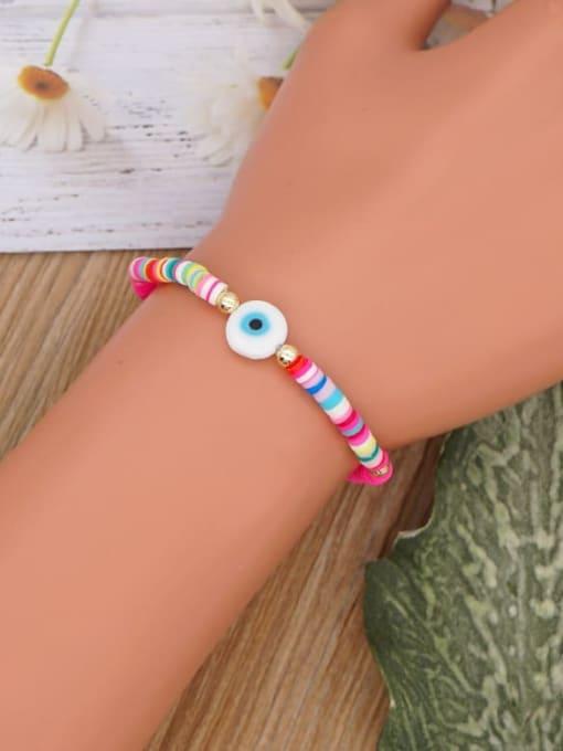 Roxi Stainless steel Multi Color Polymer Clay Evil Eye Bohemia Stretch Bracelet 1