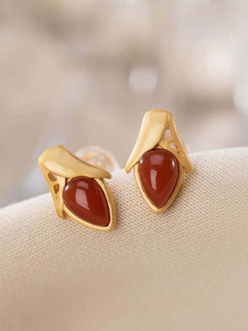 South Red (a pair) 925 Sterling Silver Carnelian Friut corn Vintage Stud Earring