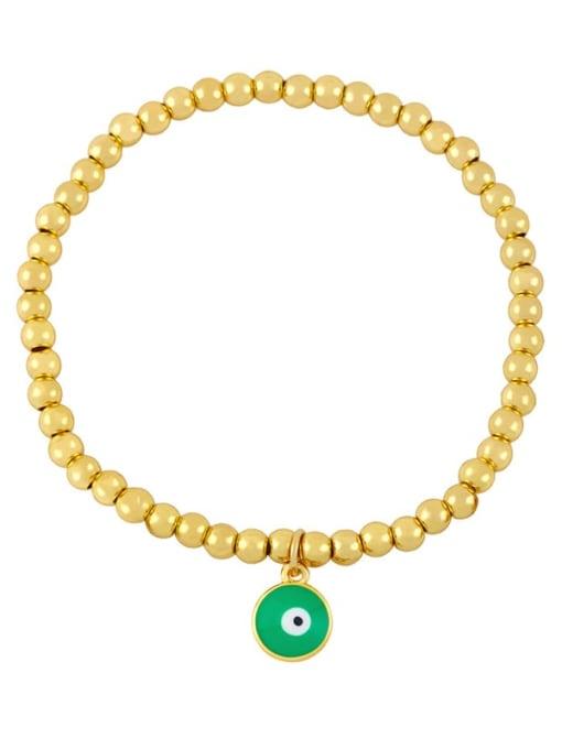 B (green eyes) Brass Enamel Flower Vintage Beaded Bracelet