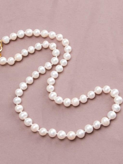 RAIN Brass Freshwater Pearl Round Minimalist Long Strand Necklace 1