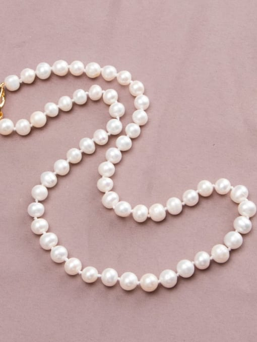 white Brass Freshwater Pearl Round Minimalist Long Strand Necklace
