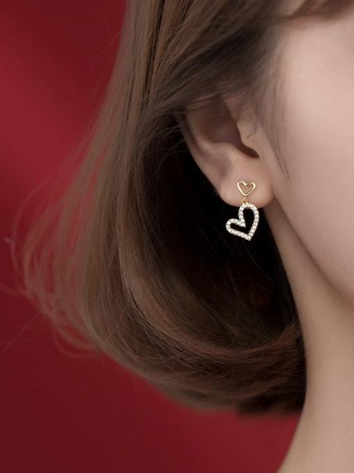Rosh 925 Sterling Silver Cubic Zirconia Heart Minimalist Drop Earring 1