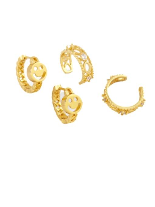 CC Brass Smiley Vintage Huggie Earring