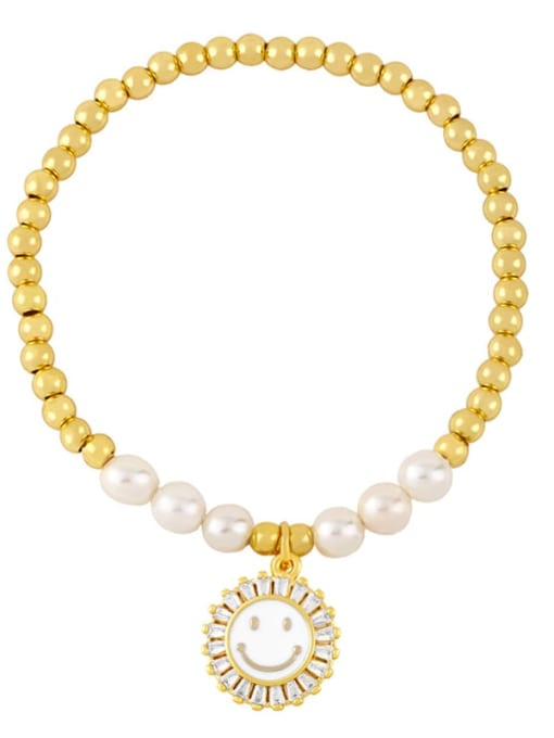 CC Brass Imitation Pearl Enamel Smiley Trend Beaded Bracelet 3