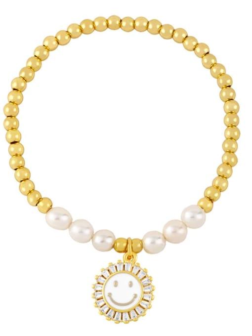 white Brass Imitation Pearl Enamel Smiley Trend Beaded Bracelet