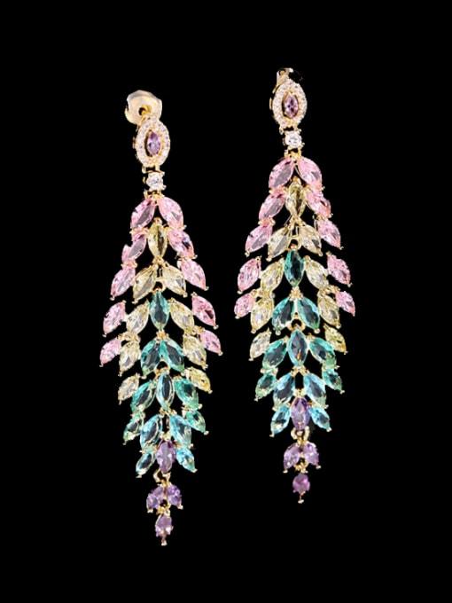 Color zirconium Brass Cubic Zirconia Flower Luxury Drop Earring