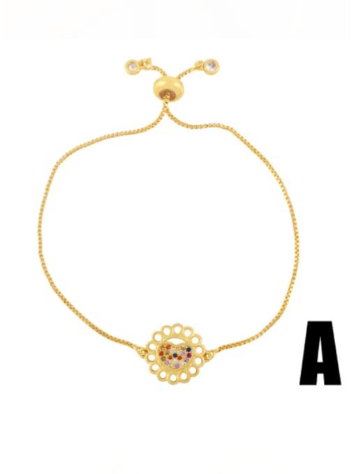 CC Brass Cubic Zirconia Heart Vintage Adjustable Bracelet 0