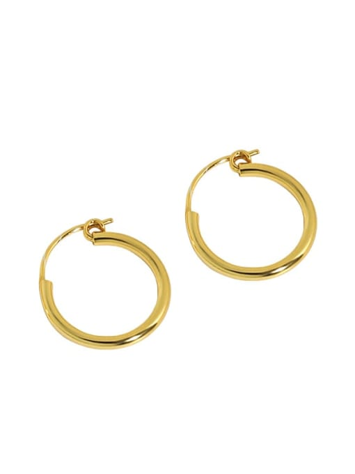 18K Gold 925 Sterling Silver Smooth Round Minimalist Hoop Earring