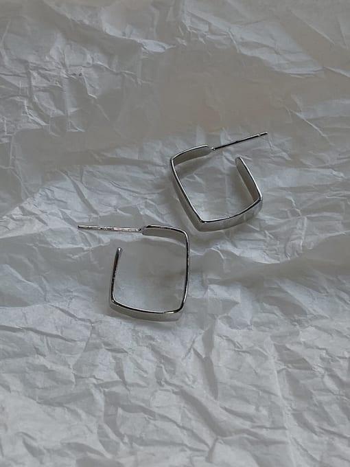 Boomer Cat 925 Sterling Silver Geometric Minimalist Huggie Earring 2