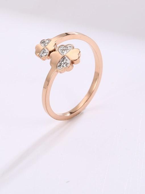 MIYA Titanium Steel Rhinestone Flower Minimalist Band Ring 1