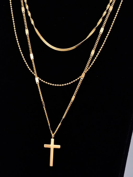 A TEEM Titanium Cross Minimalist Multi Strand Necklace 0