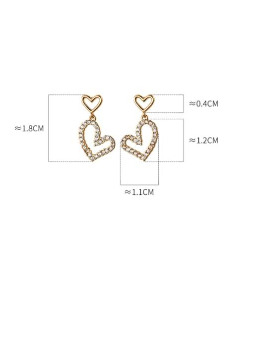 Rosh 925 Sterling Silver Cubic Zirconia Heart Minimalist Drop Earring 4