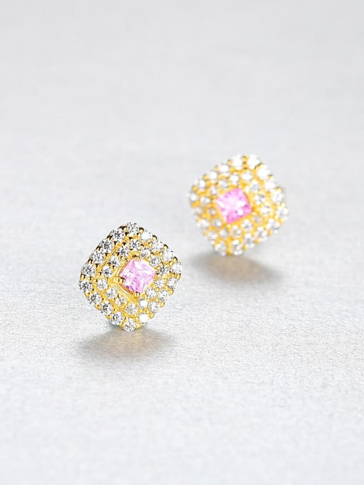CCUI 925 Sterling Silver Cubic Zirconia Square Luxury Stud Earring 2