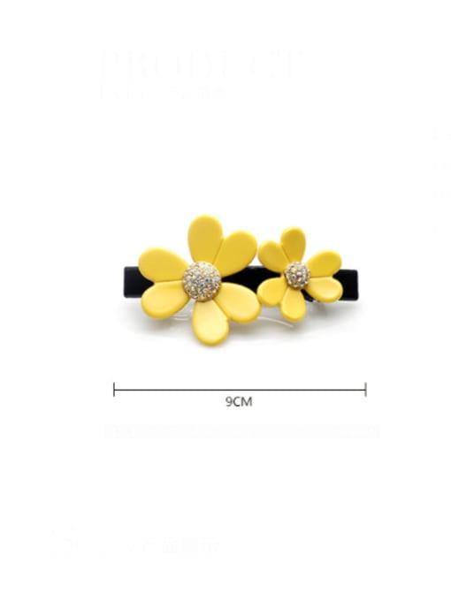 HUIYI Cellulose Acetate Cute Flower Zinc Alloy Rhinestone Hair Barrette 2