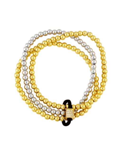 black Brass Bead Enamel Geometric Vintage Beaded Bracelet