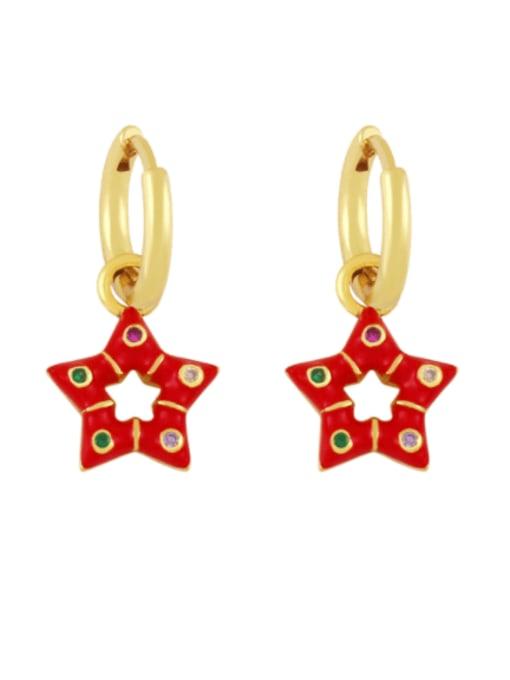 red Brass Multi Color Enamel Star Vintage Huggie Earring