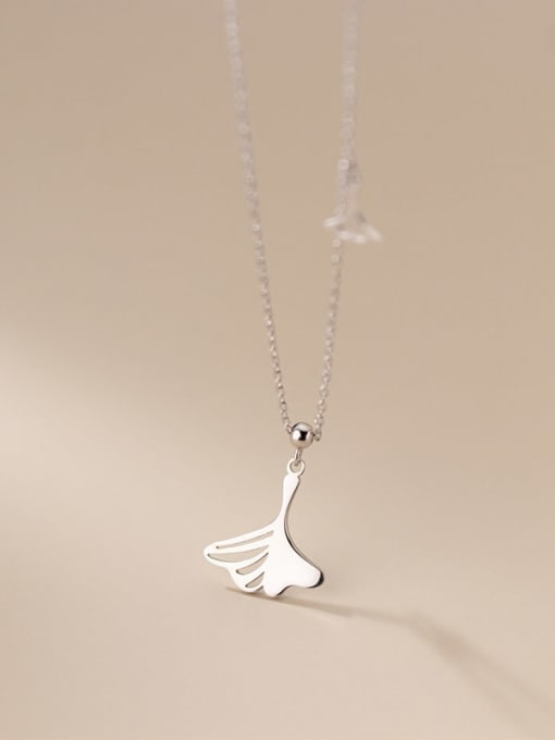 Rosh 925 Sterling Silver Hollow Tree Leaf Minimalist Necklace 1