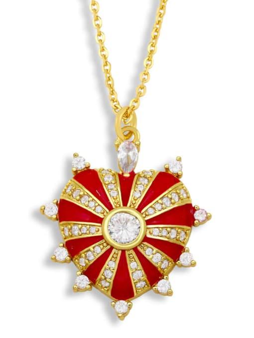 gules Brass Cubic Zirconia Enamel Heart Ethnic Necklace