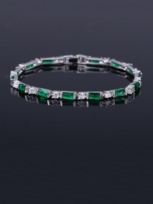 Emerald 17.5+ 2.2cm Brass Cubic Zirconia Geometric Classic Bracelet