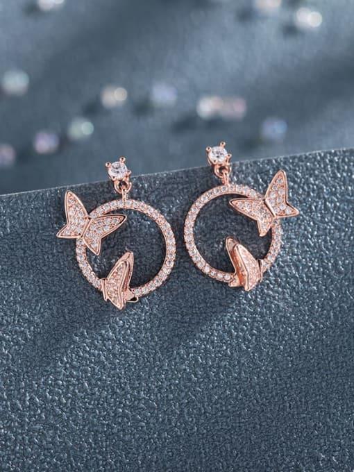 rose gold Brass Cubic Zirconia Butterfly Luxury Stud Earring