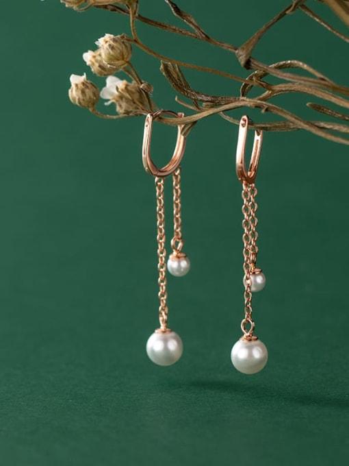 Rosh 925 Sterling Silver Imitation Pearl Tassel Minimalist Huggie Earring