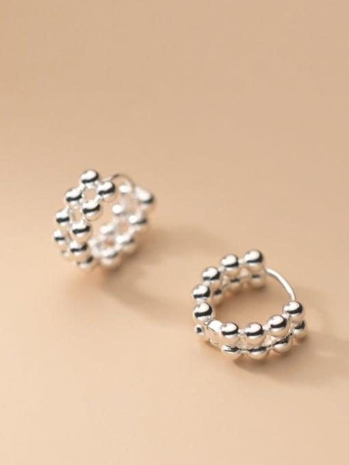 Rosh 925 Sterling Silver Bead Feather Minimalist Stud Earring 2