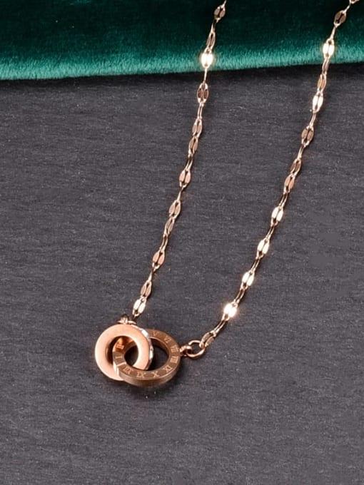 A TEEM Titanium Steel Rhinestone Number Minimalist Necklace 1