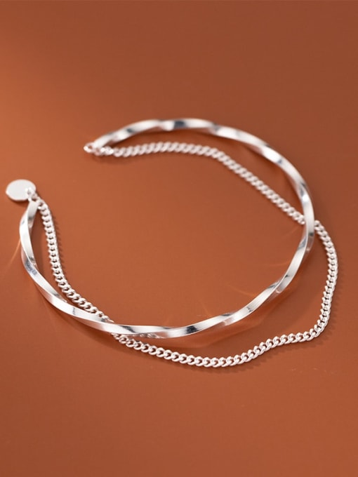 Rosh 925 Sterling Silver Geometric Minimalist Strand Bracelet