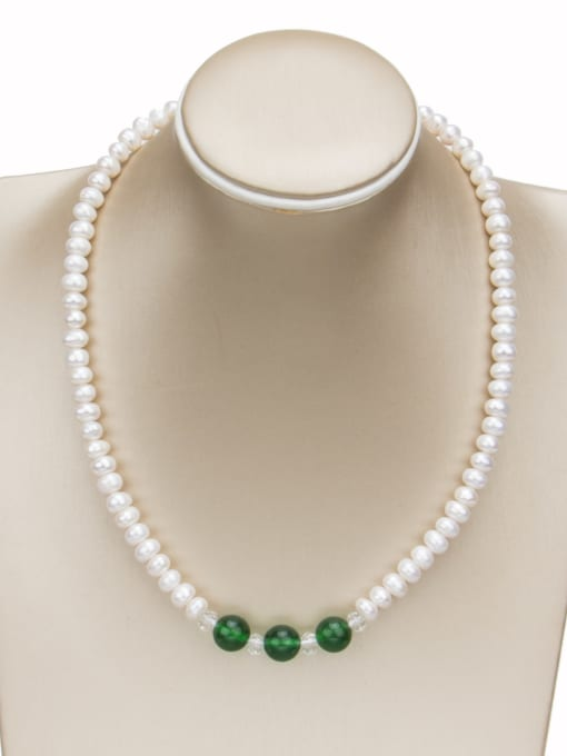 white+green Brass Freshwater Pearl Geometric Minimalist Necklace