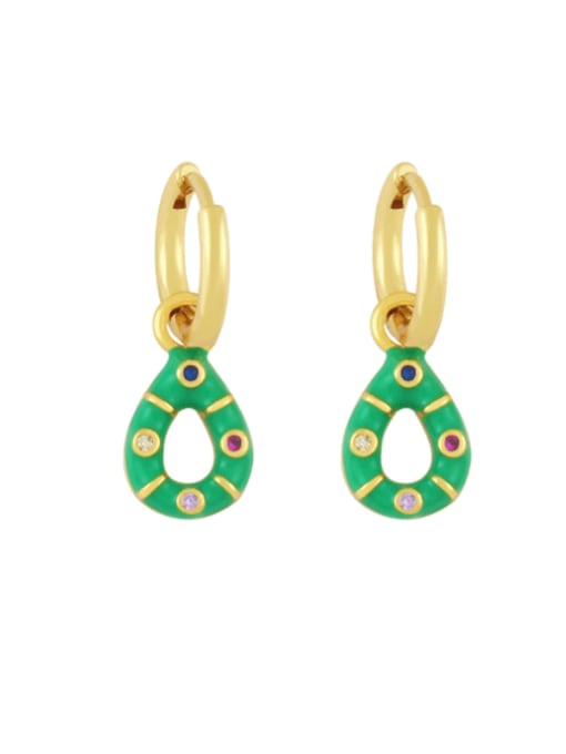 green Brass Rhinestone Enamel Water Drop Vintage Huggie Earring