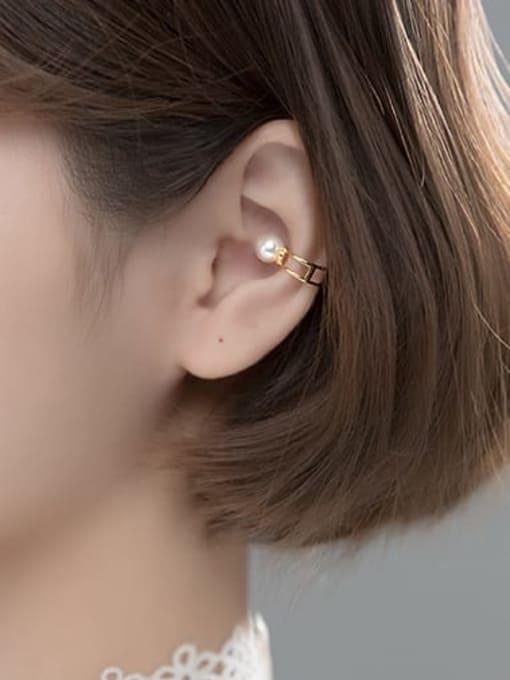 Rosh 925 Sterling Silver Imitation Pearl Geometric Minimalist Clip Earring 2