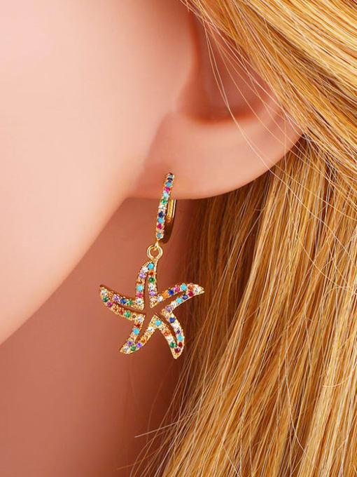 CC Brass Cubic Zirconia Star Vintage Huggie Earring 1