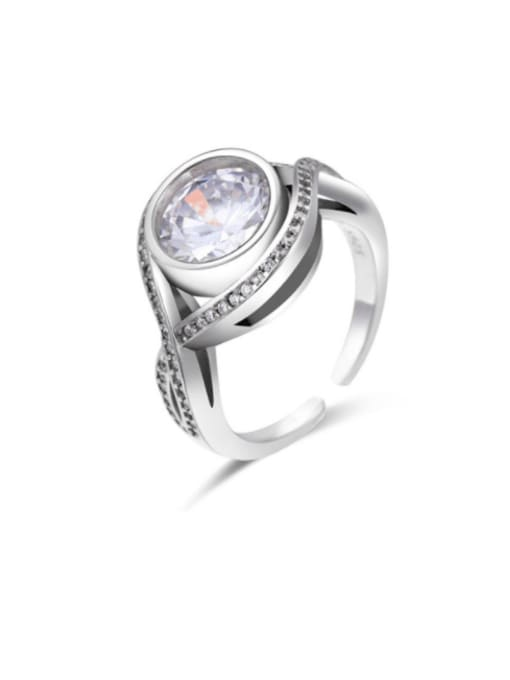Boomer Cat 925 Sterling Silver Cubic Zirconia Round Vintage Band Ring