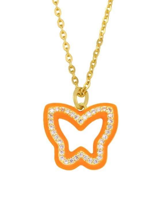 orange Brass Cubic Zirconia Hollow Butterfly Hip Hop Necklace