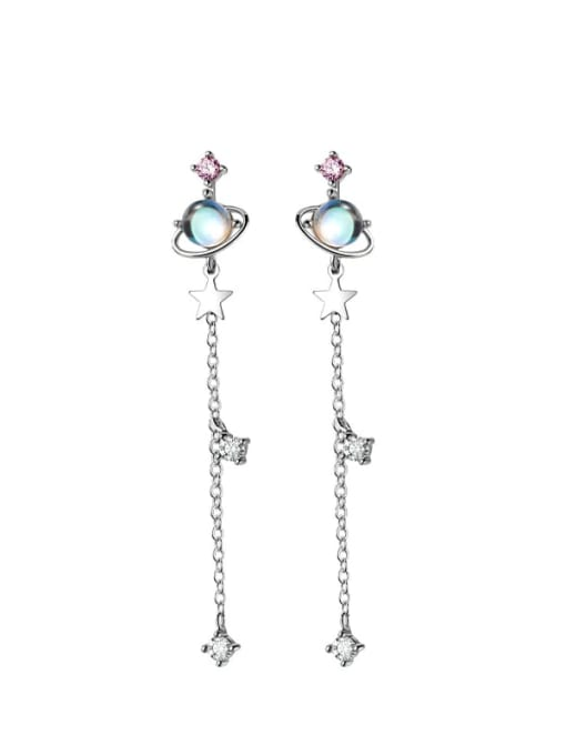 Rosh 925 Sterling Silver Glass Stone Tassel Minimalist Threader Earring 0