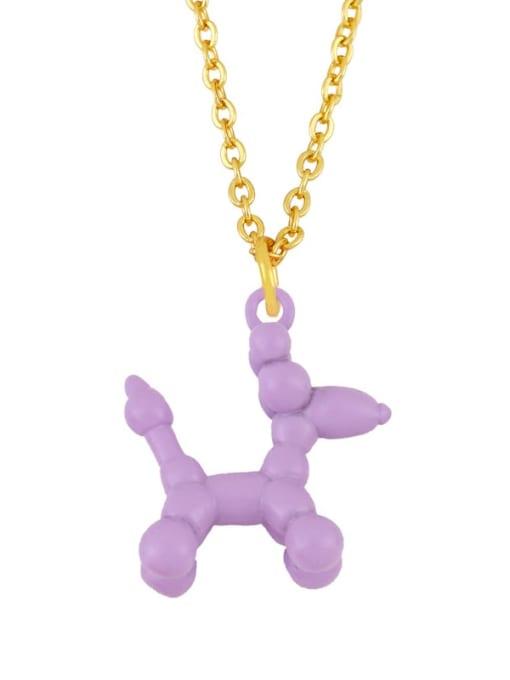 purple Brass Enamel Cute Dog Pendant Necklace