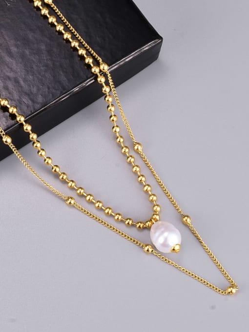 A TEEM Titanium Steel Imitation Pearl Round Vintage Multi Strand Necklace 3